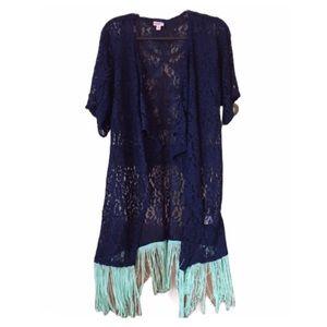 American Rag Kimono Fringe Blue Small/Med